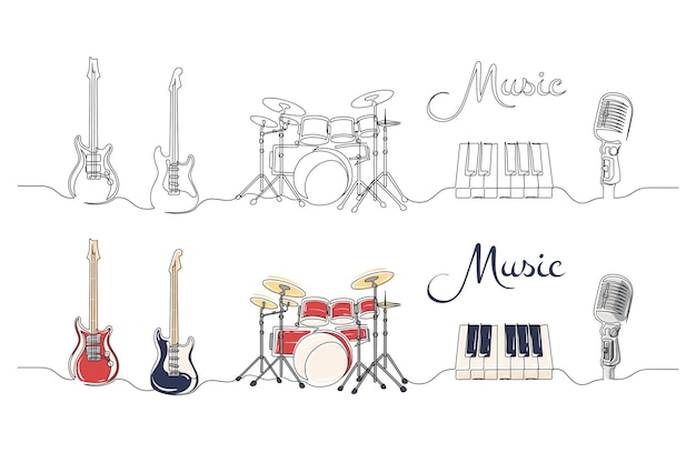 Set of continuous one line drawing of a musical instruments