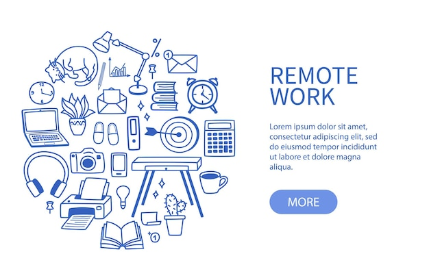 Set of contour elements, concept of work from home and freelance in quarantine.