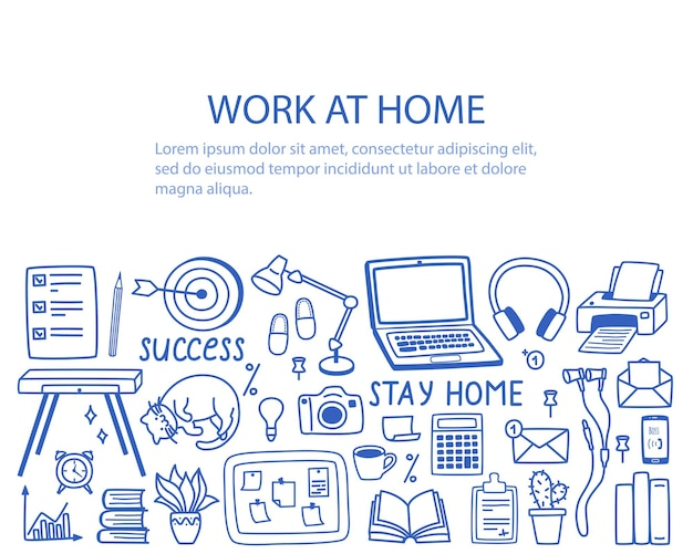 A set of contour elements on the topic of work from home, the concept of remote work in quarantine.
