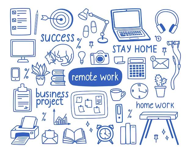 A set of contour elements on the topic of work from home, the concept of remote work