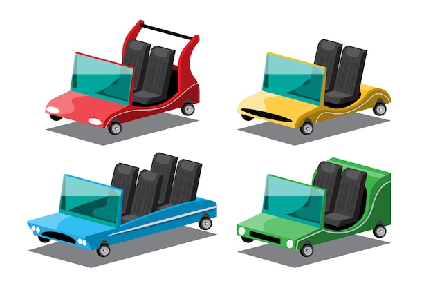 Set of convertible cars in fancy styles