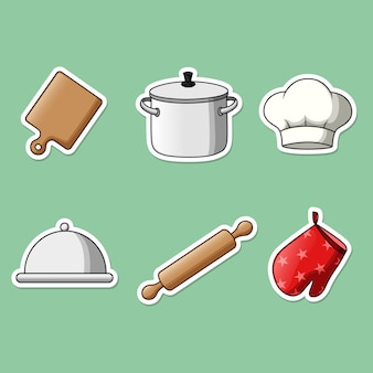 Set of cooking equipment stickers.