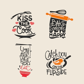 Set of cooking and kitchen quotes label, typography paper cut and lettering
