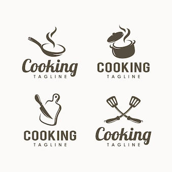 Set of cooking logo design template