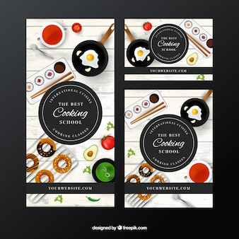 Set of cooking school banners