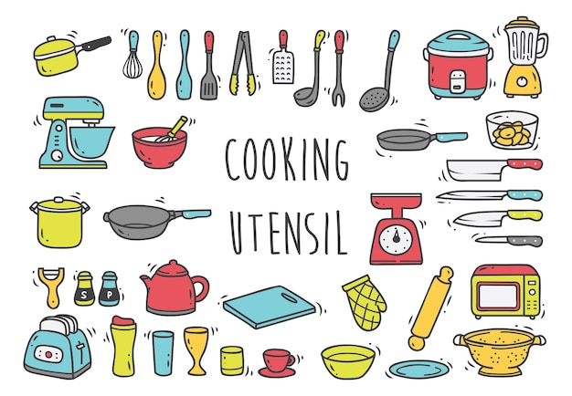 Set of cooking utensil doodles isolated on white background