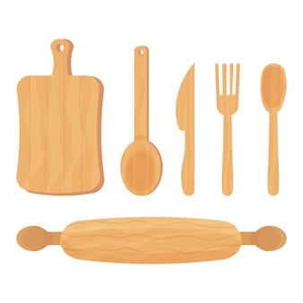 Set of cooking wooden kitchen tools spoon knife fork rolling pin isolated on white