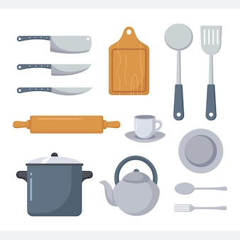 Set of cookware design template for home and restaurant
