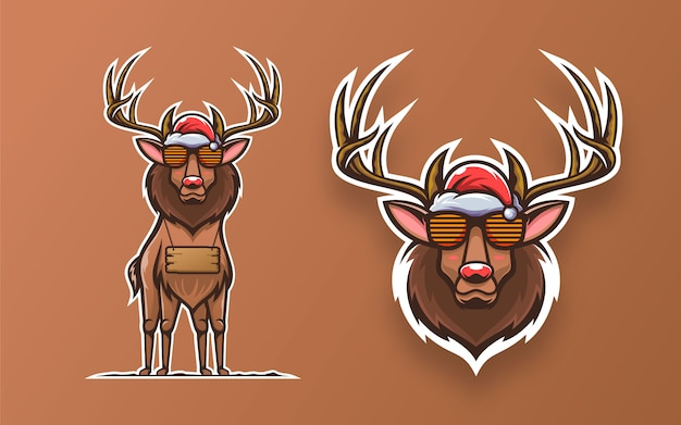 Set of cool deer mascot illustration