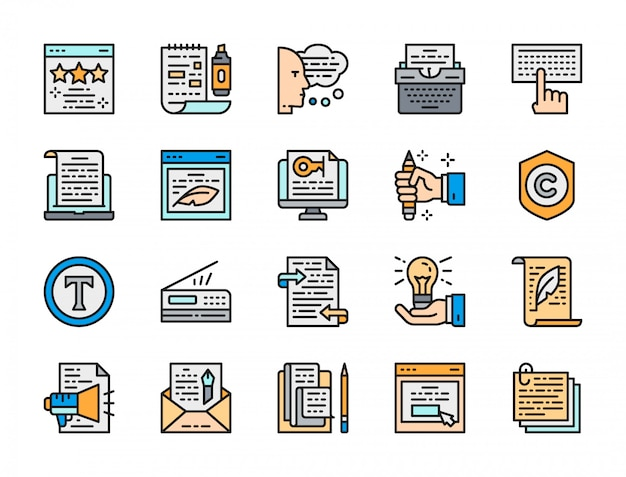 Set of copywriting flat color icons.