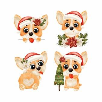 Set of corgi dogs in santa claus hat