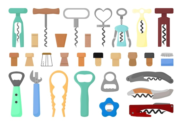 Set of corkscrews, bottle openers and bottle caps.