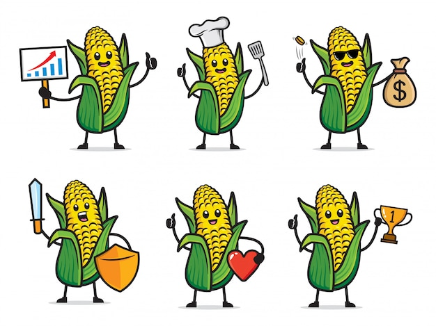 Set of corn character