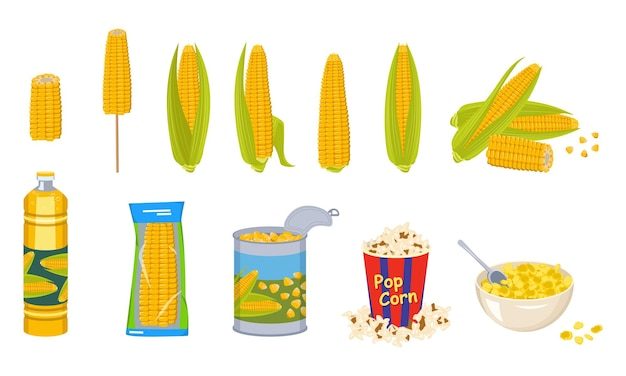 Set of corn cobs, oil, tin can, popcorn and cornflakes in a bowl. group of yellow delicious vegetables and different products from it