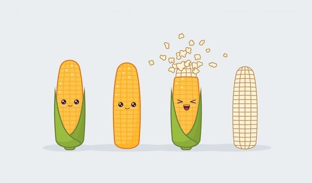Установить кукурузу. симпатичные каваи, улыбающиеся едой