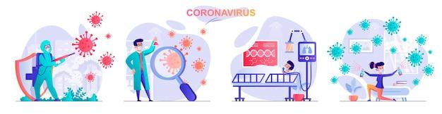 Установить коронавирус плоский дизайн концепции иллюстрации персонажей людей