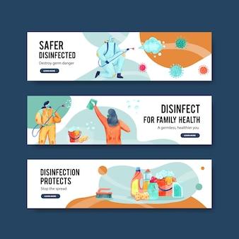 Set of coronavirus safety banners