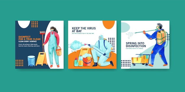 Insieme dell'illustrazione dell'acquerello di sicurezza di coronavirus