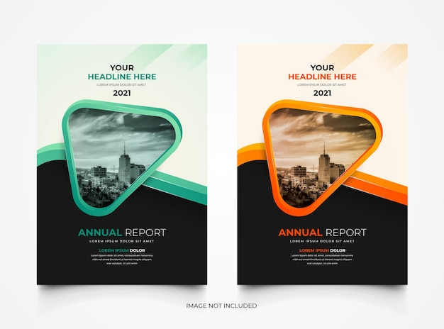 Set of corporate annual report business cover template