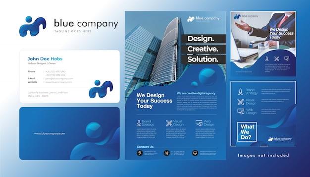 光沢のある青に企業ロゴ、名刺、チラシ、正方形サイズのinstagram投稿テンプレートを設定する
