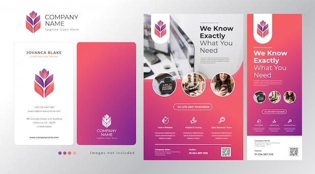 Установить корпоративный логотип, визитку, флаер и шаблон стоящего баннера в смешанной современной цветовой гамме