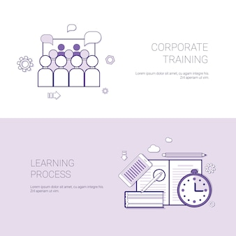 Set of corporate training and learning process banners business concept template
