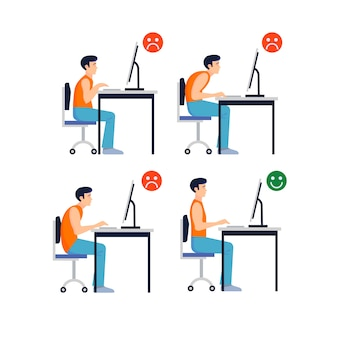Set of correct and incorrect postures in front of the computer