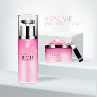 Установить косметическую рекламу, розовый дизайн упаковки