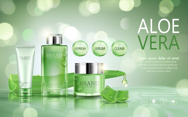Set cosmetic bottle for advertisement with aloe vera on bokeh background.