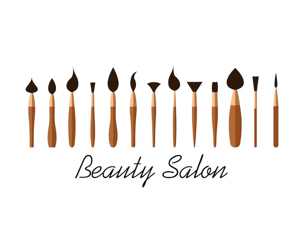 Set of cosmetic brushes for beauty salon