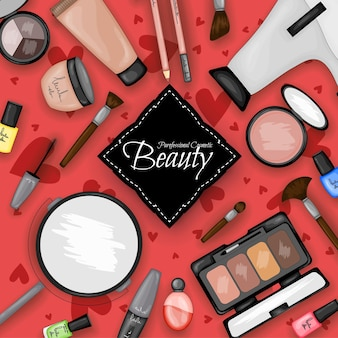 Set of cosmetic products. cartoon style. vector illustration.