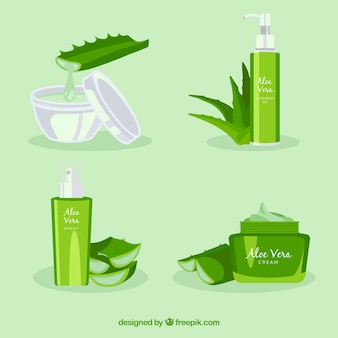 Set of cosmetic products with aloe vera