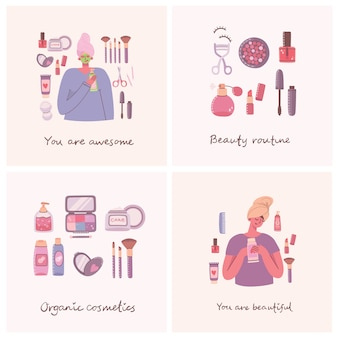 Set of cosmetics and body care products cards for make up around girls with cosmetic bag.