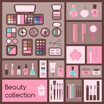 Set of cosmetics elements.