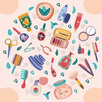 Set of cosmetics makeup cartoon