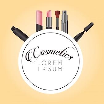 Set of cosmetics makeup circular frame