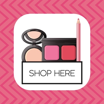 Set of cosmetics makeup square frame