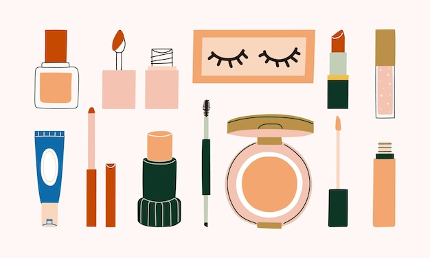 Set of cosmetics makeup with foundation, lip tint, artificial eyelash, lipstick, lip gloss, lip liner, concealer, brow pencil, cushion, and concealer illustration.