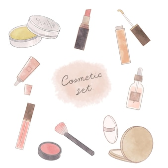 The set of cosmetics. on a white background.