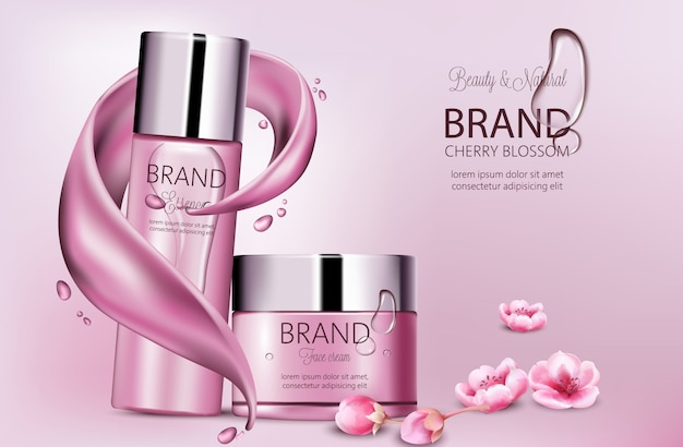 Set of cosmetics with essence and face cream. product placement. cherry blossom. splash waves and drops. place for brand. realistic s