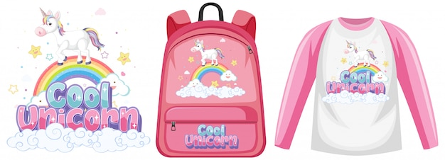 Set of costume with unicorn logo