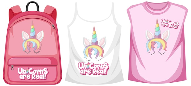 Set of costume with unicorn logo