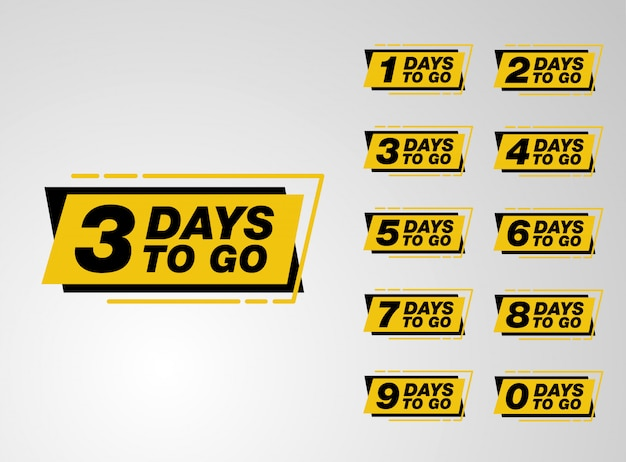 Set of countdown days to go banner