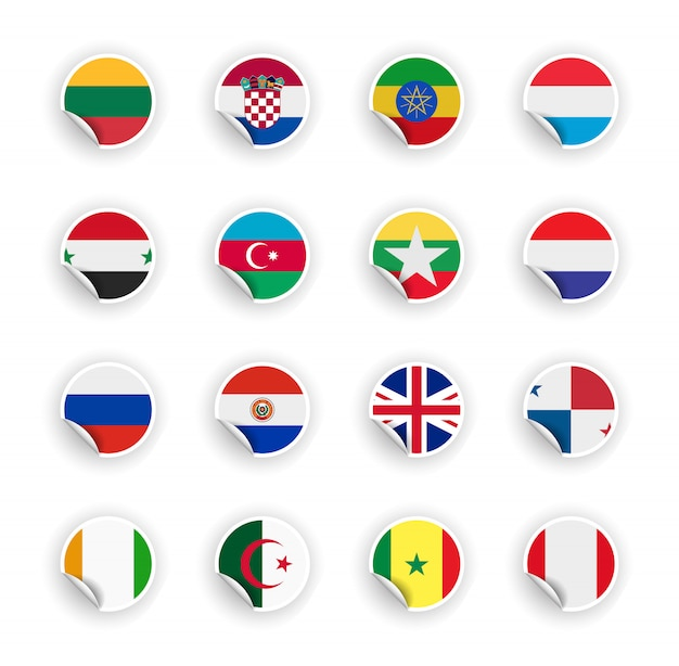 Set of country flag in stickers
