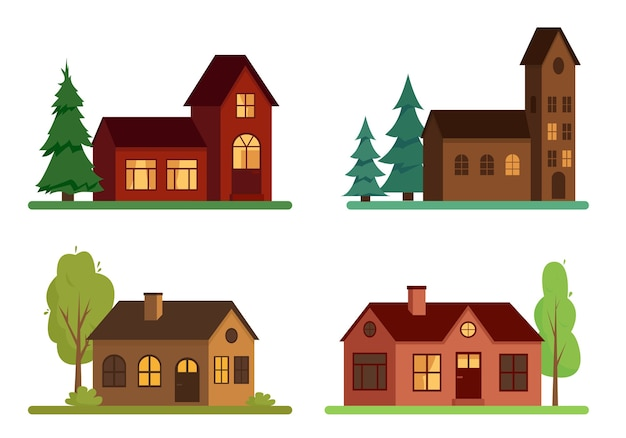 Set of country houses with trees on white background