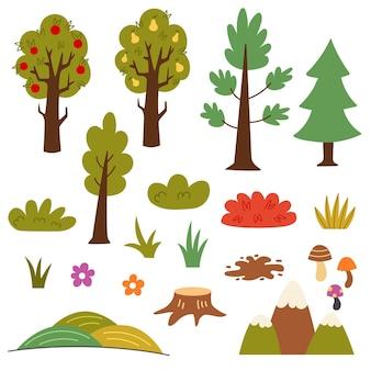 시골 나무 관목 식물을 설정합니다. 과일 나무 사과, 배, 덤불, 가문비나무, 소나무, 산, 들판, 그루터기. 벡터 손 그리기 클립 아트