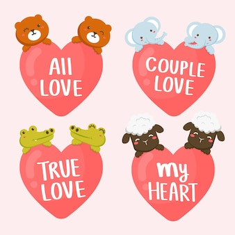 Set of couple of animals with hearts and romantic letterings. valentine's day