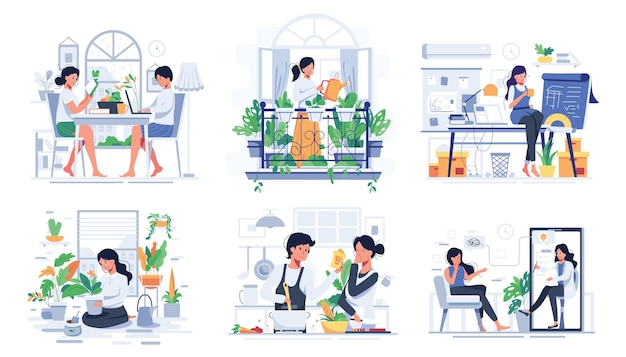 Set of couple lifestyle at home in rest time, cooking or take care for plants in pots in cartoon character, flat illustration