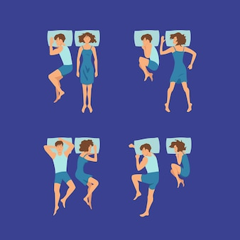 Set of couple of man and woman sweet sleeping on pillows in bedroom poses illustration