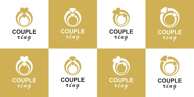 Установить пару кольцо дизайн логотипа вектор